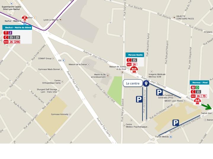 Plan d'accès centre ophtalmologie Lyon Mermoz